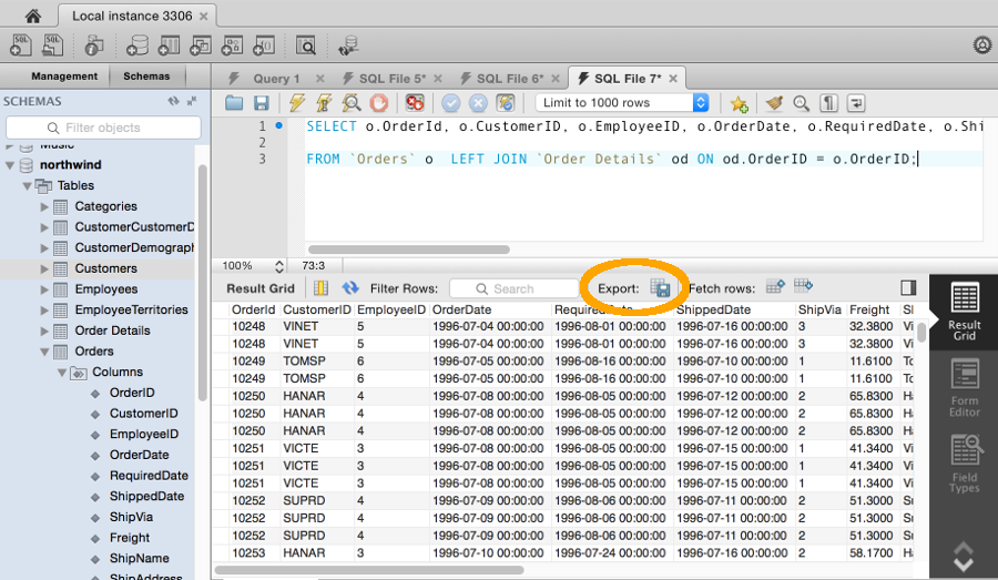 How To Export The Results Of A Query Using Mysql Workbench