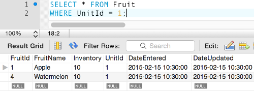 Screenshot of a simple query in MySQL Workbench.