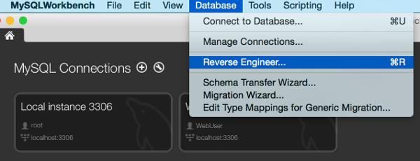 Screenshot of selecting Reverse Engineer from the top menu in MySQL Workbench