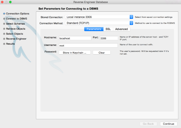 Screenshot of DBMS parameter screen in MySQL Workbench