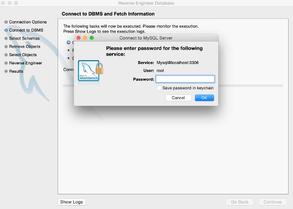 Screenshot of password prompt