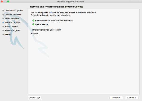 Screenshot of the Retrieve and Reverse Engineer Schema Objects screen