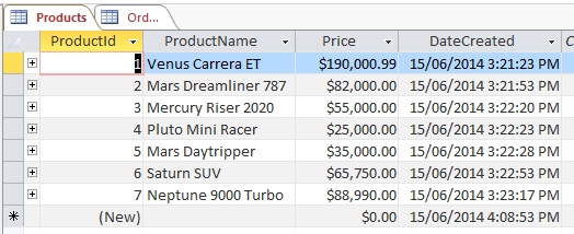 Screenshot of the Products table with data.