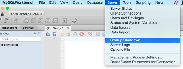 Screenshot of selecting Startup/Shutdown