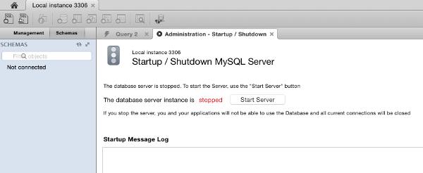 "Screenshot of the ""Administration - Startup/Shutdown"" screen in MySQL Workbench"